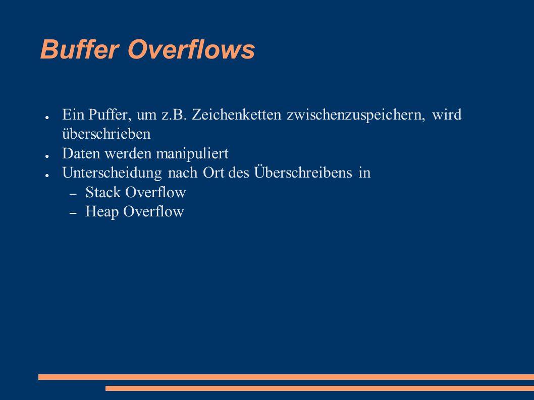Buffer Overflows ● Ein Puffer, um z.B.