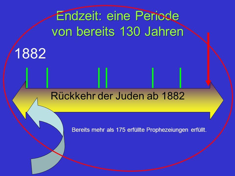 Endzeit: eine Periode von bereits 130 Jahren Rückkehr der Juden ab 1882 1882 Bereits mehr als 175 erfüllte Prophezeiungen erfüllt.
