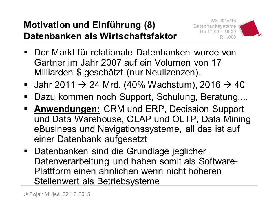 WS 2015/16 Datenbanksysteme Do 17:00 – 18:30 R 1.008 © Bojan Milijaš, 02.10.2015 Motivation und Einführung (8) Datenbanken als Wirtschaftsfaktor  Der Markt für relationale Datenbanken wurde von Gartner im Jahr 2007 auf ein Volumen von 17 Milliarden $ geschätzt (nur Neulizenzen).