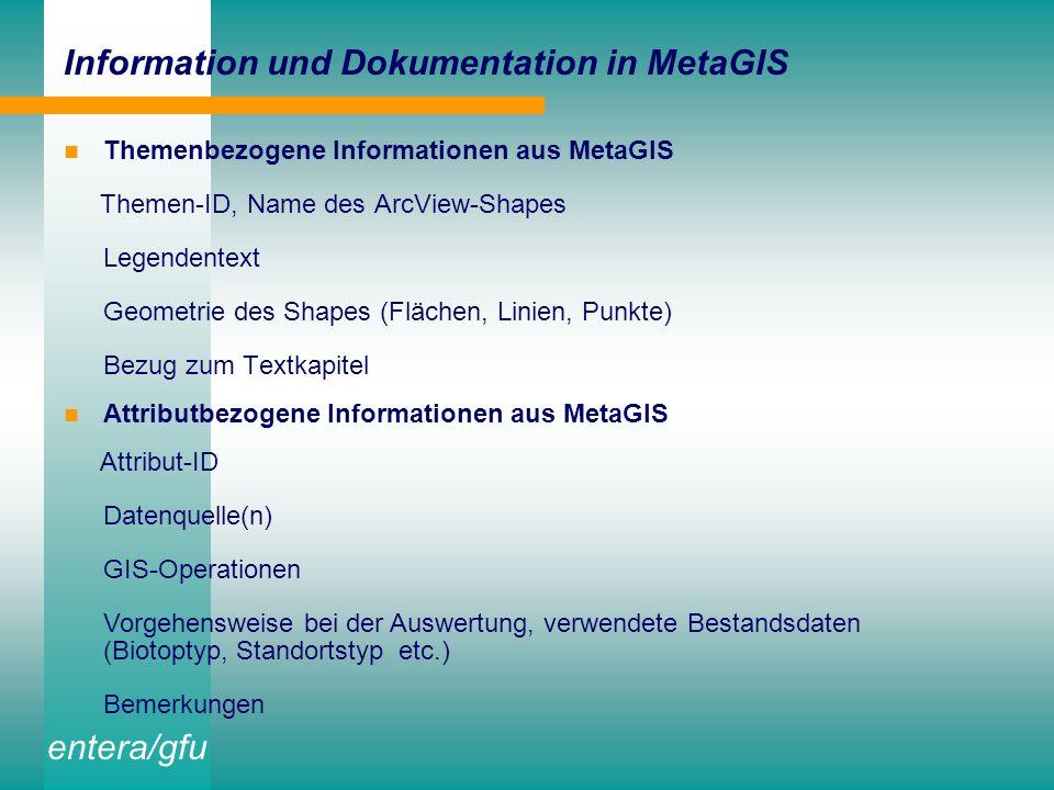 entera/gfu Stand der Datenaufbereitung für das EKZ I Aufbereitung des digitalen Datenbestandes der UNB in thematischen Layern ergänzende Digitalisierung und GIS-gestützte Aufbereitung von Einzelthemen Anpassung von Legende und Layout für die gedruckte Kartenversion übersichtliche Strukturierung der Views und View-Legenden für die Bildschirmarbeit Aufbau der Metadatenbank MetaGIS und des Karteninformationssystems