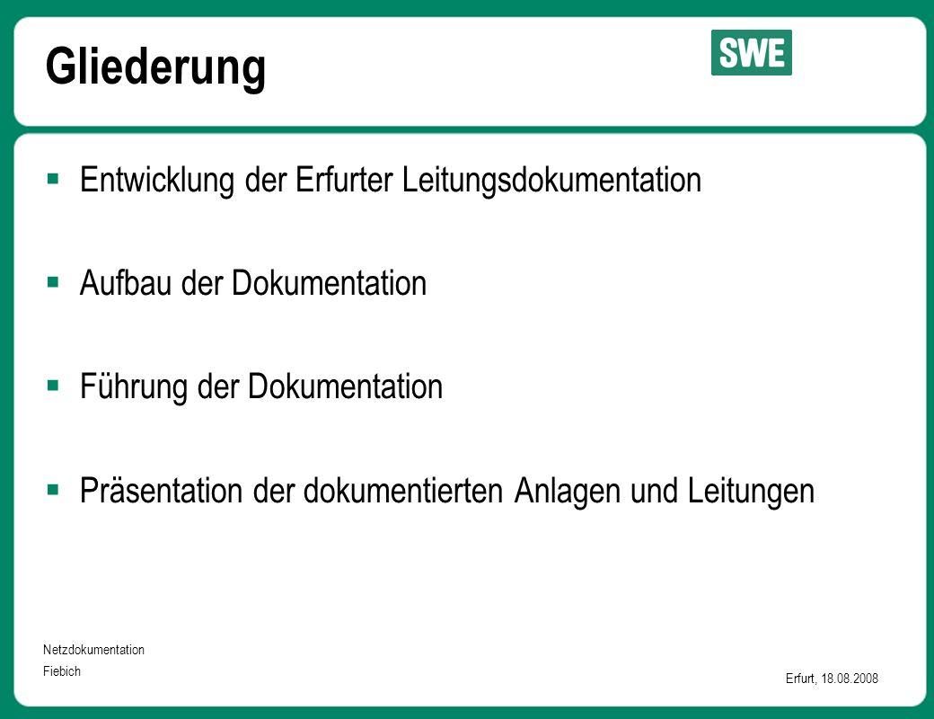 Netzdokumentation Fiebich Erfurt, 18.08.2008 Gliederung  Entwicklung der Erfurter Leitungsdokumentation  Aufbau der Dokumentation  Führung der Doku