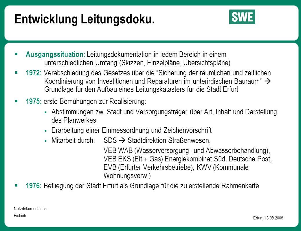 Netzdokumentation Fiebich Erfurt, 18.08.2008 Entwicklung Leitungsdoku.  Ausgangssituation: Leitungsdokumentation in jedem Bereich in einem unterschie