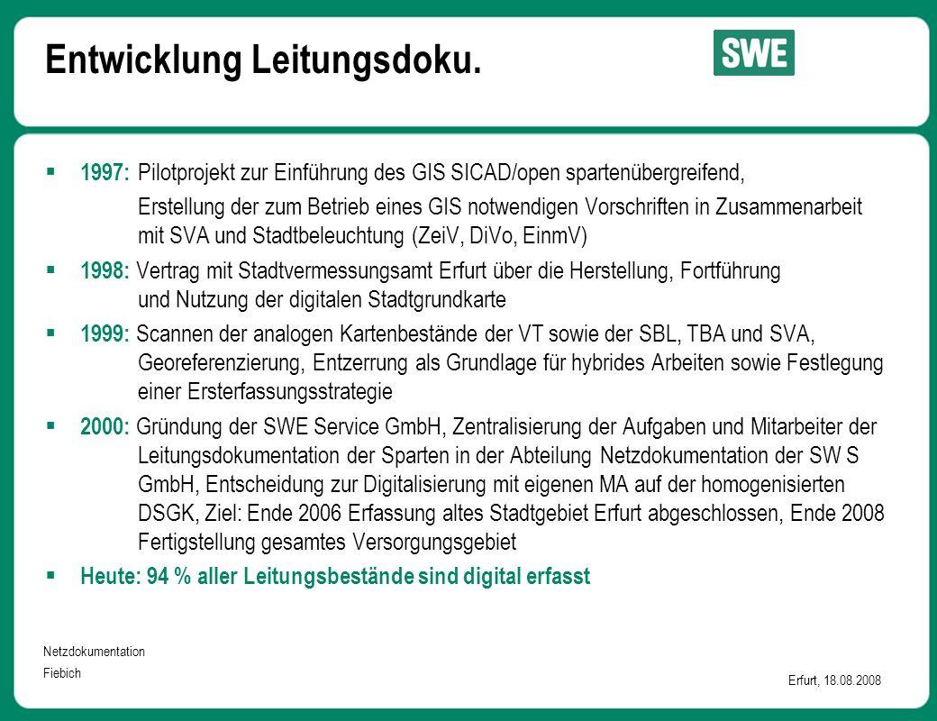 Netzdokumentation Fiebich Erfurt, 18.08.2008  1997: Pilotprojekt zur Einführung des GIS SICAD/open spartenübergreifend, Erstellung der zum Betrieb eines GIS notwendigen Vorschriften in Zusammenarbeit mit SVA und Stadtbeleuchtung (ZeiV, DiVo, EinmV)  1998: Vertrag mit Stadtvermessungsamt Erfurt über die Herstellung, Fortführung und Nutzung der digitalen Stadtgrundkarte  1999: Scannen der analogen Kartenbestände der VT sowie der SBL, TBA und SVA, Georeferenzierung, Entzerrung als Grundlage für hybrides Arbeiten sowie Festlegung einer Ersterfassungsstrategie  2000: Gründung der SWE Service GmbH, Zentralisierung der Aufgaben und Mitarbeiter der Leitungsdokumentation der Sparten in der Abteilung Netzdokumentation der SW S GmbH, Entscheidung zur Digitalisierung mit eigenen MA auf der homogenisierten DSGK, Ziel: Ende 2006 Erfassung altes Stadtgebiet Erfurt abgeschlossen, Ende 2008 Fertigstellung gesamtes Versorgungsgebiet  Heute: 94 % aller Leitungsbestände sind digital erfasst Entwicklung Leitungsdoku.