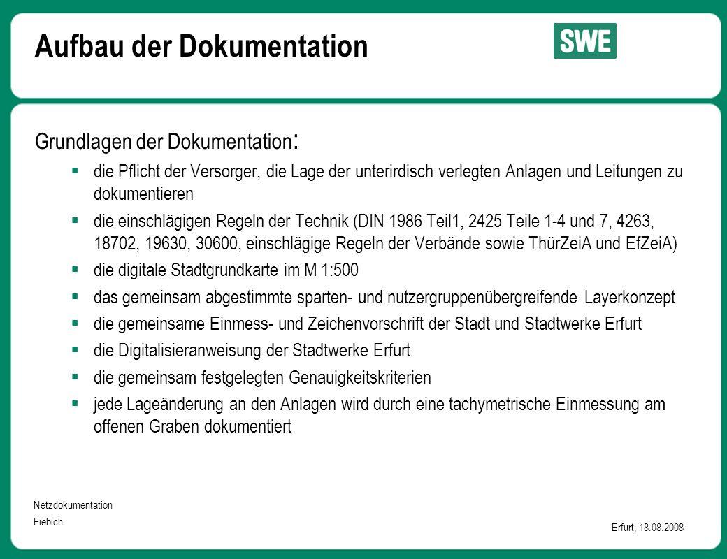 Netzdokumentation Fiebich Erfurt, 18.08.2008 Aufbau der Dokumentation Grundlagen der Dokumentation :  die Pflicht der Versorger, die Lage der unterir