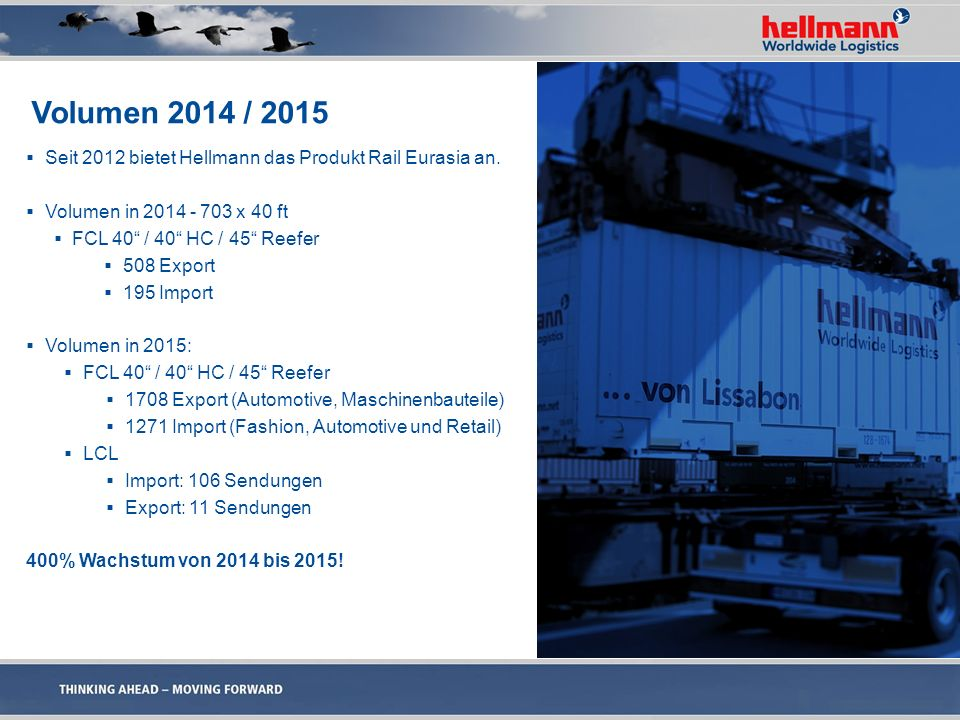 "Volumen 2014 / 2015  Seit 2012 bietet Hellmann das Produkt Rail Eurasia an.  Volumen in 2014 - 703 x 40 ft  FCL 40"" / 40"" HC / 45"" Reefer  508 Exp"