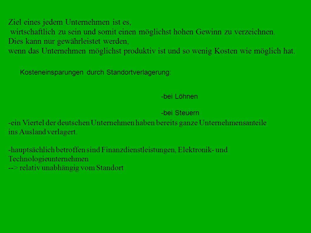 Gründe der Unternehmensverlagerung aus Deutschland: 1.Geringe Lohnkosten in Osteuropa 2001: Lohnkosten/1h in Deutschland-26,16 euro Portugal- 6,75Euro Lettland- 2,40Euro -Grund für die hohen Lohnkosten in Deutschland sind die Sozialabgaben.