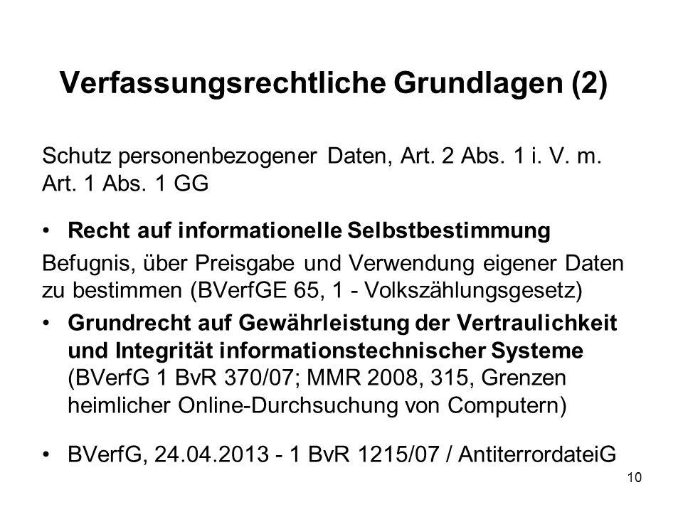 Verfassungsrechtliche Grundlagen (2) Schutz personenbezogener Daten, Art.