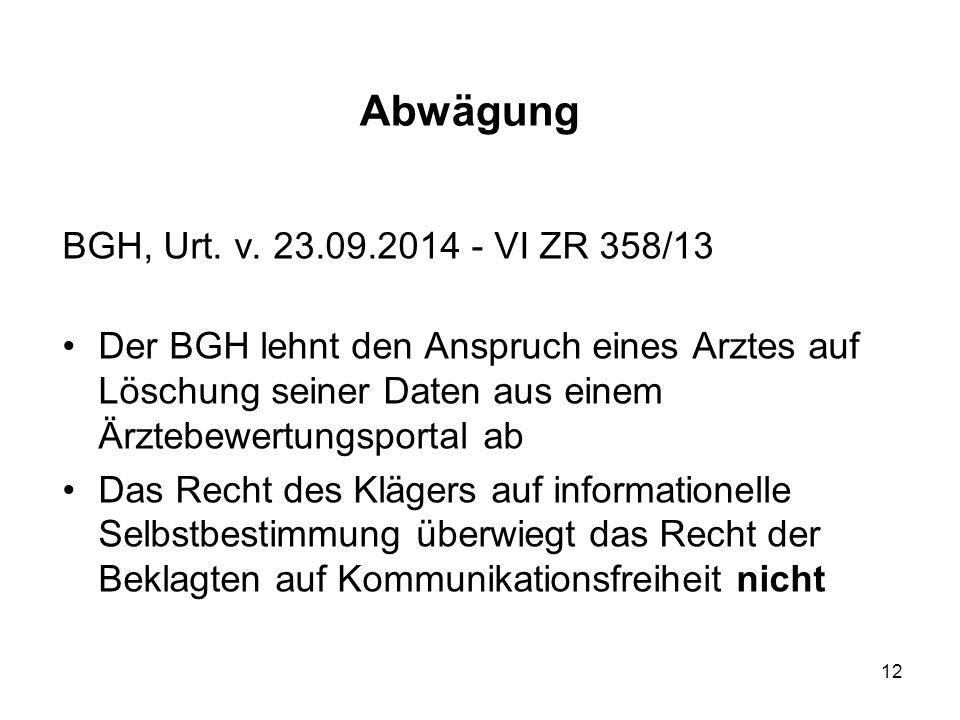 Abwägung BGH, Urt. v.