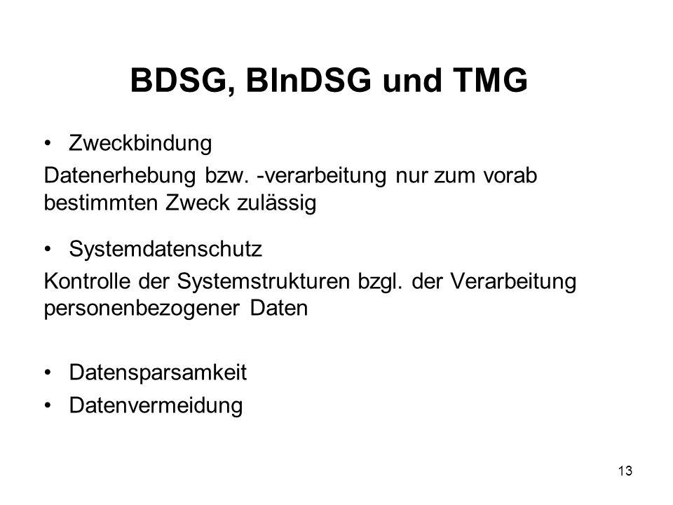 BDSG, BlnDSG und TMG Zweckbindung Datenerhebung bzw.