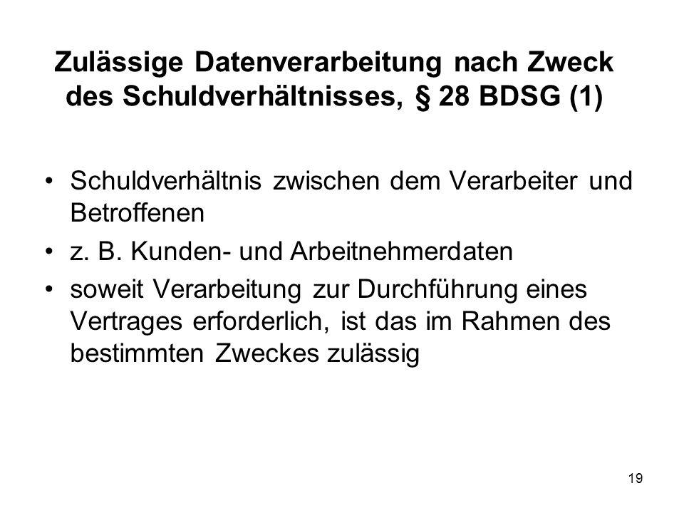 Zulässige Datenverarbeitung nach Zweck des Schuldverhältnisses, § 28 BDSG (1) Schuldverhältnis zwischen dem Verarbeiter und Betroffenen z.