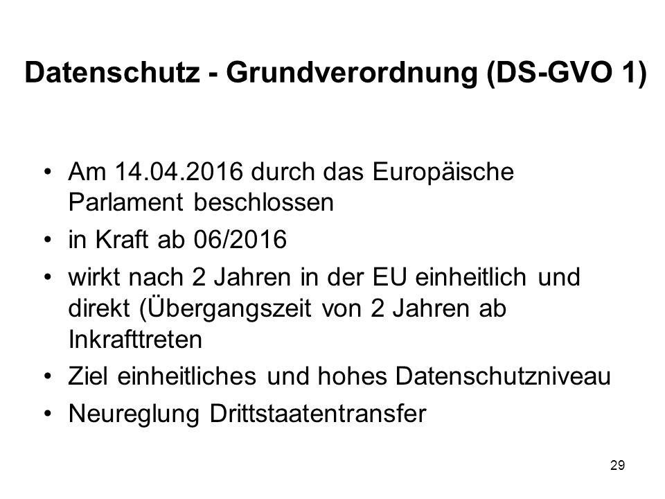 Datenschutz - Grundverordnung (DS-GVO 1) Am 14.04.2016 durch das Europäische Parlament beschlossen in Kraft ab 06/2016 wirkt nach 2 Jahren in der EU einheitlich und direkt (Übergangszeit von 2 Jahren ab Inkrafttreten Ziel einheitliches und hohes Datenschutzniveau Neureglung Drittstaatentransfer 29