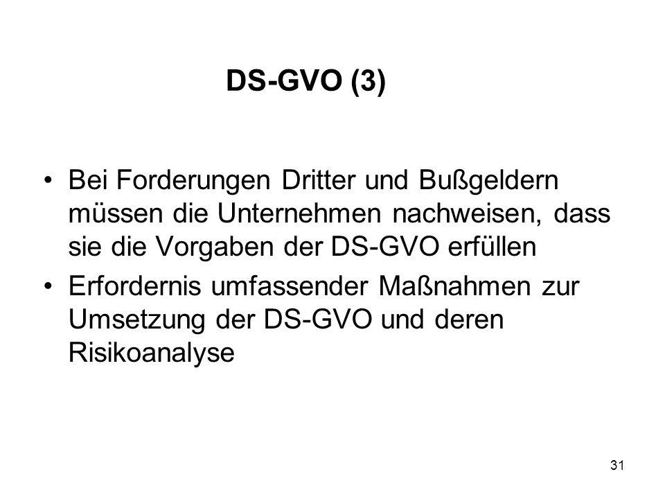 DS-GVO (3) Bei Forderungen Dritter und Bußgeldern müssen die Unternehmen nachweisen, dass sie die Vorgaben der DS-GVO erfüllen Erfordernis umfassender Maßnahmen zur Umsetzung der DS-GVO und deren Risikoanalyse 31