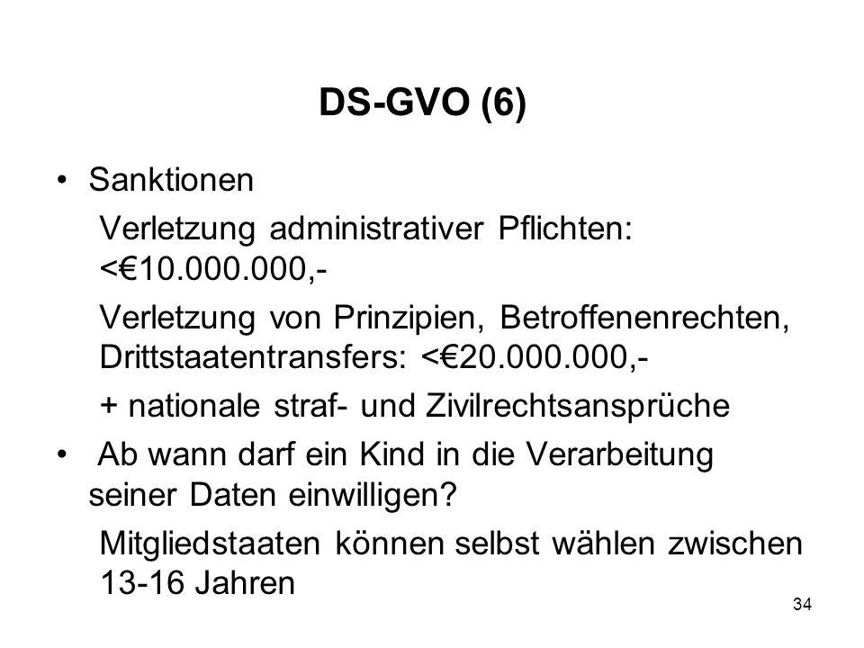 DS-GVO (6) Sanktionen Verletzung administrativer Pflichten: <€10.000.000,- Verletzung von Prinzipien, Betroffenenrechten, Drittstaatentransfers: <€20.000.000,- + nationale straf- und Zivilrechtsansprüche Ab wann darf ein Kind in die Verarbeitung seiner Daten einwilligen.