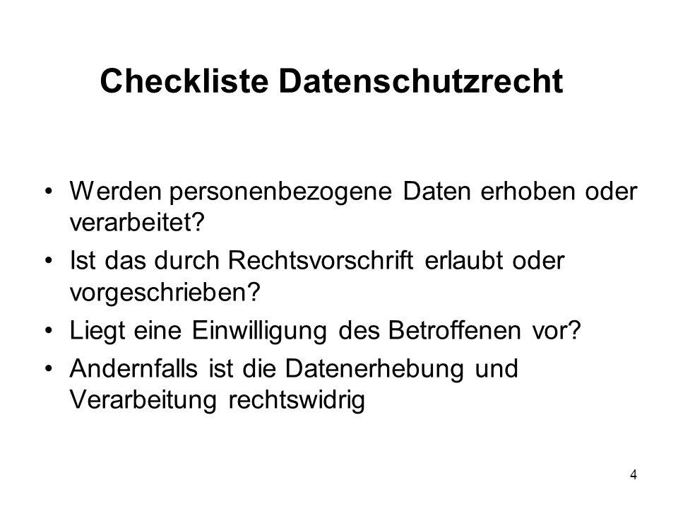 Checkliste Datenschutzrecht Werden personenbezogene Daten erhoben oder verarbeitet.