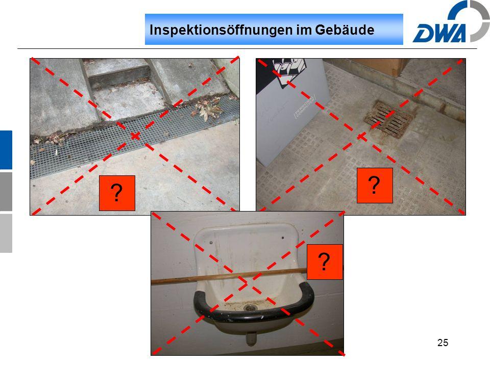 25 Inspektionsöffnungen im Gebäude