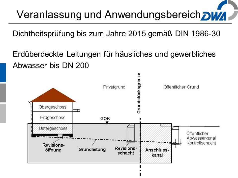 3 Veranlassung und Anwendungsbereich Erdüberdeckte Leitungen für häusliches und gewerbliches Abwasser bis DN 200 Dichtheitsprüfung bis zum Jahre 2015 gemäß DIN 1986-30