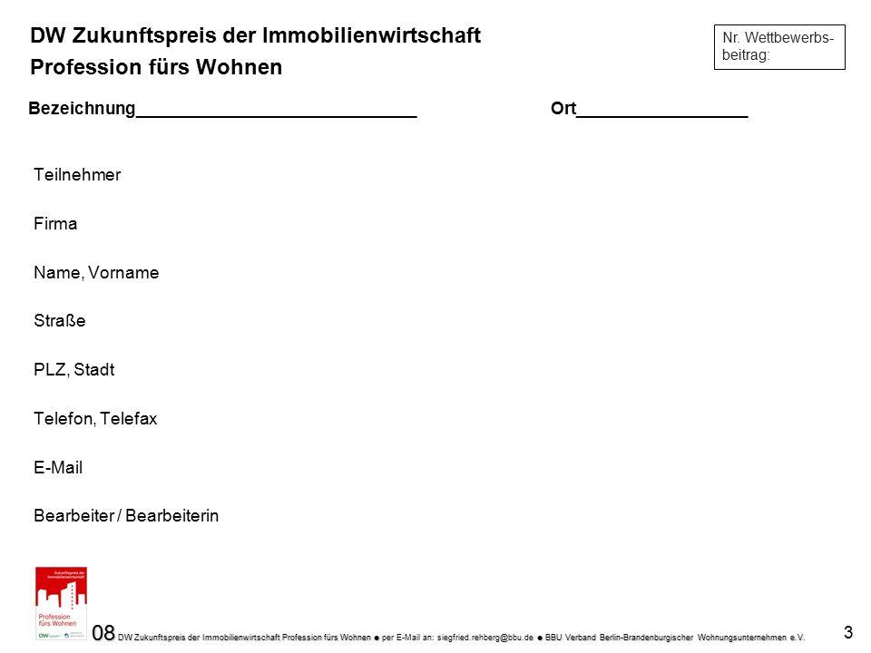 08 DW Zukunftspreis der Immobilienwirtschaft Profession fürs Wohnen   BBU Verband Berlin-Brandenburgischer Wohnungsunternehmen e.V. 08 DW Zukunftspr