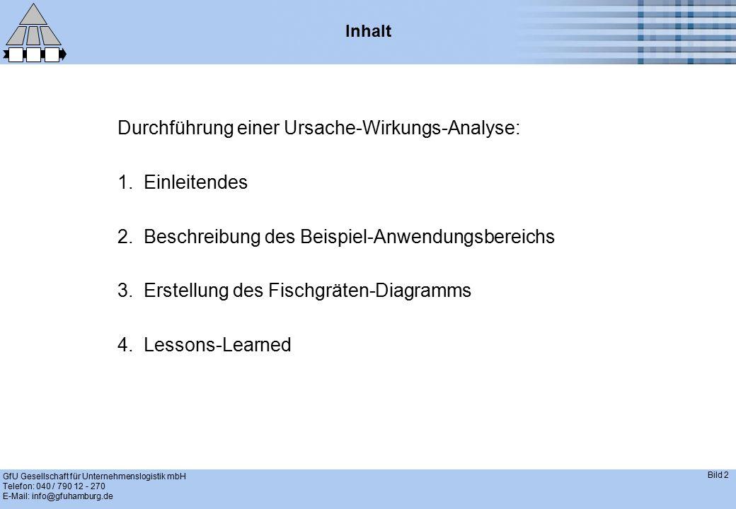 GfU Gesellschaft für Unternehmenslogistik mbH Telefon: 040 / 790 12 - 270 E-Mail: info@gfuhamburg.de Bild 3 Einleitendes – Die Ursache-Wirkungs-Analyse ist eine graphische Methode zur Ermittlung der Hauptursachen, die zu einer unerwünschten Wirkung führen.