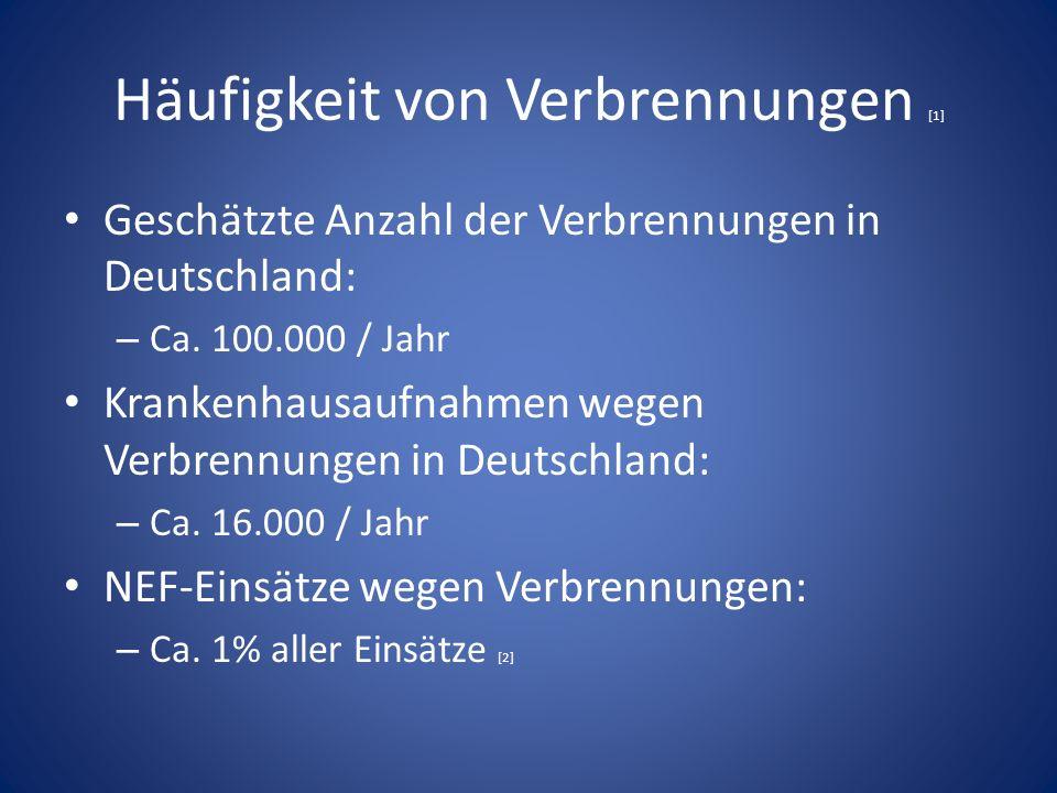 Häufigkeit von Verbrennungen [1] Geschätzte Anzahl der Verbrennungen in Deutschland: – Ca.