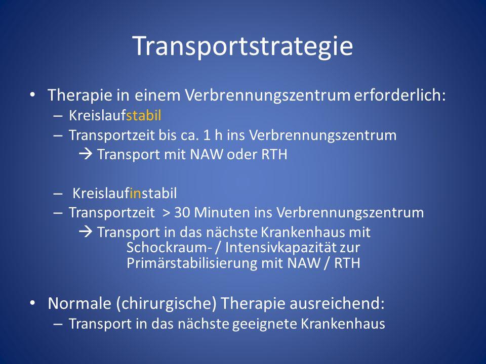 Transportstrategie Therapie in einem Verbrennungszentrum erforderlich: – Kreislaufstabil – Transportzeit bis ca.