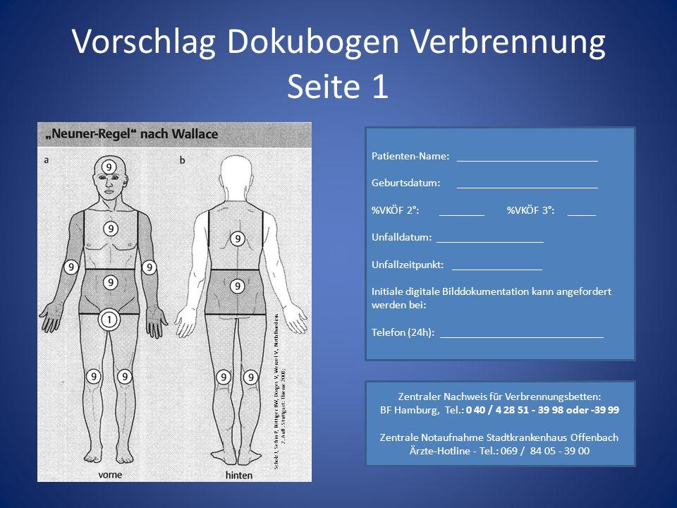 Vorschlag Dokubogen Verbrennung Seite 1 Scholz J, Sefrin P, Böttiger BW, Dörges V, Wenzel V., Notfallmedizin.