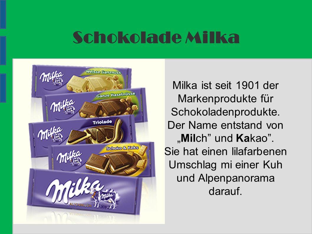 Schokolade Milka Milka ist seit 1901 der Markenprodukte für Schokoladenprodukte.