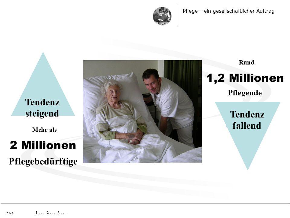 Folie 2 Mehr als 2 Millionen Pflegebedürftige Pflege – ein gesellschaftlicher Auftrag 1...