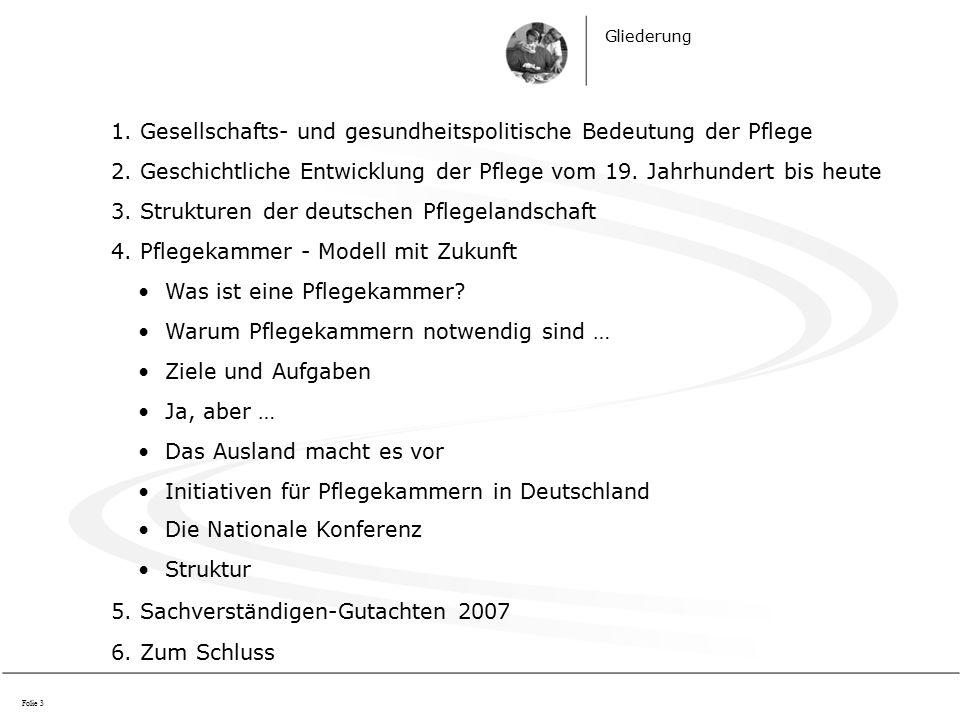 Gliederung 1. Gesellschafts- und gesundheitspolitische Bedeutung der Pflege 2.