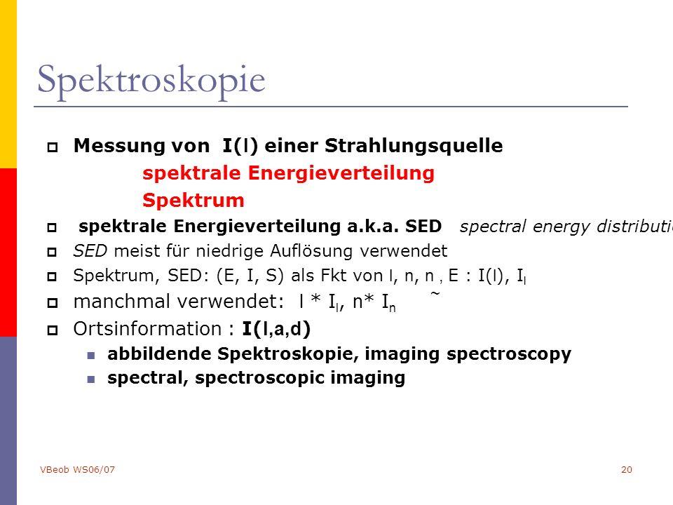 VBeob WS06/0720 Spektroskopie  Messung von I( l ) einer Strahlungsquelle spektrale Energieverteilung Spektrum  spektrale Energieverteilung a.k.a.