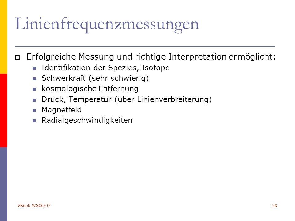 VBeob WS06/0729 Linienfrequenzmessungen  Erfolgreiche Messung und richtige Interpretation ermöglicht: Identifikation der Spezies, Isotope Schwerkraft (sehr schwierig) kosmologische Entfernung Druck, Temperatur (über Linienverbreiterung) Magnetfeld Radialgeschwindigkeiten