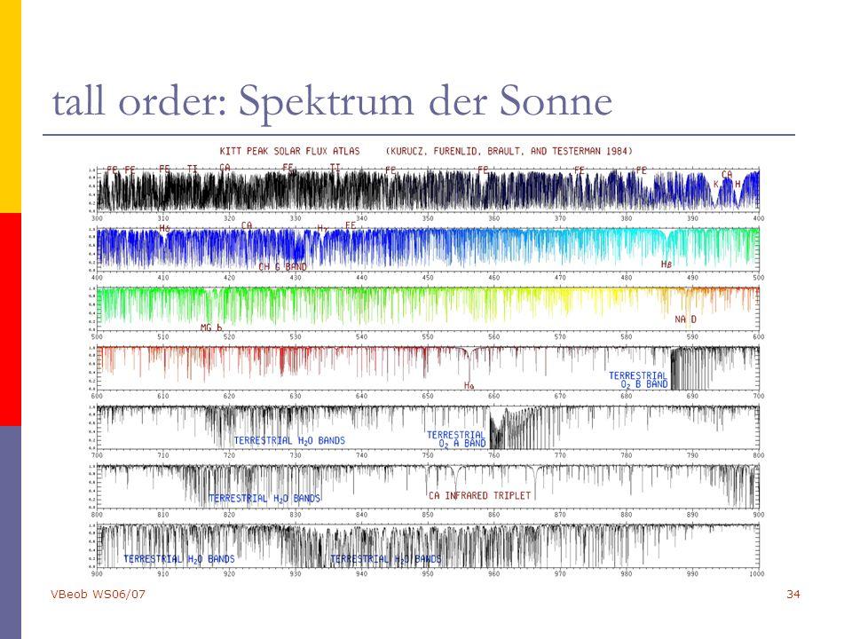 VBeob WS06/0734 tall order: Spektrum der Sonne