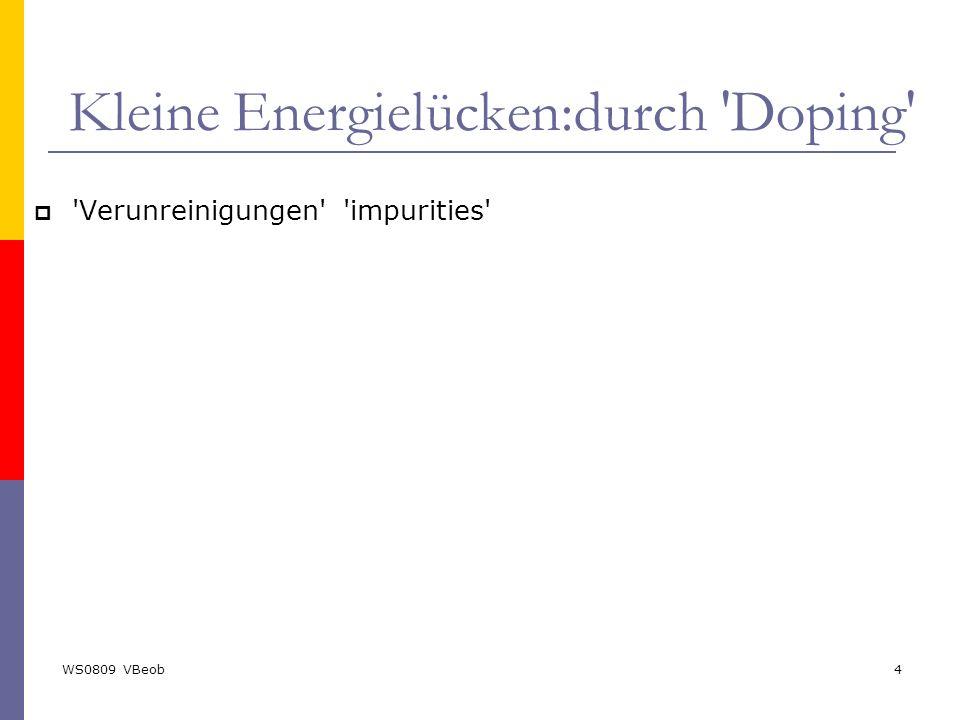 WS0809 VBeob4 Kleine Energielücken:durch 'Doping'  'Verunreinigungen' 'impurities'