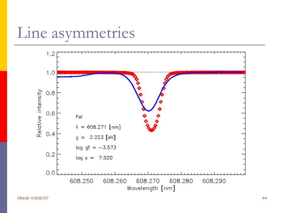 VBeob WS06/0744 Line asymmetries