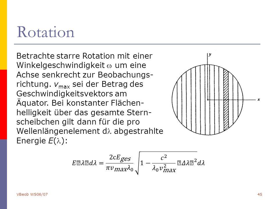 VBeob WS06/0745 Rotation Betrachte starre Rotation mit einer Winkelgeschwindigkeit  um eine Achse senkrecht zur Beobachungs- richtung. v max sei der