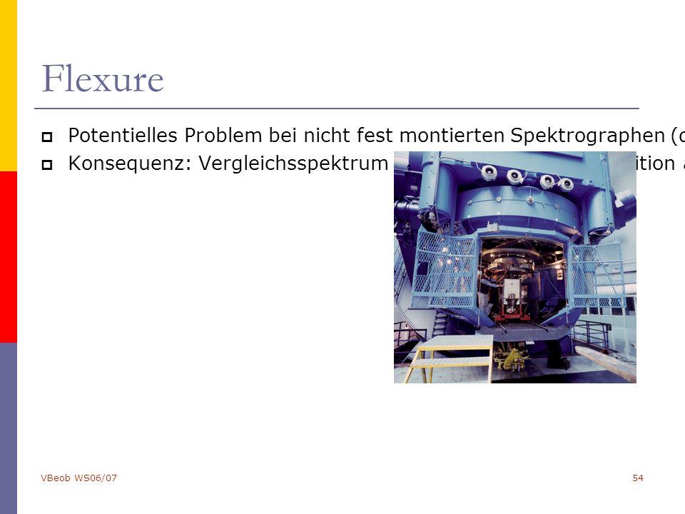 VBeob WS06/0754 Flexure  Potentielles Problem bei nicht fest montierten Spektrographen (d.h. z.B. am Cassegrain-Fokus): Flexure, d.h. verbiegen des S