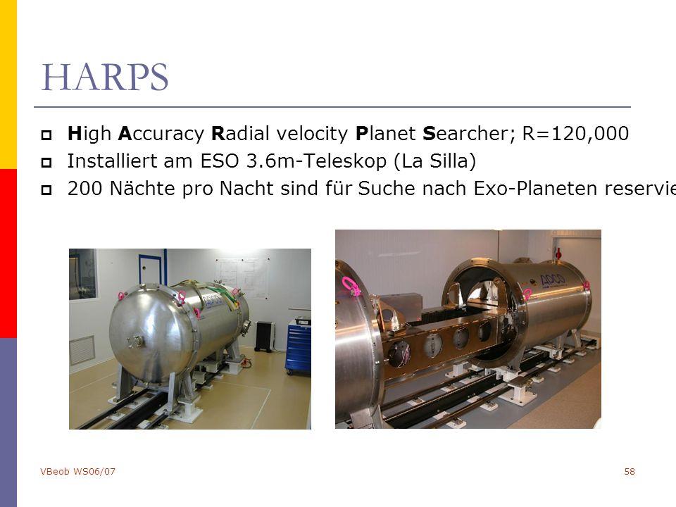 VBeob WS06/0758 HARPS  High Accuracy Radial velocity Planet Searcher; R=120,000  Installiert am ESO 3.6m-Teleskop (La Silla)  200 Nächte pro Nacht sind für Suche nach Exo-Planeten reserviert