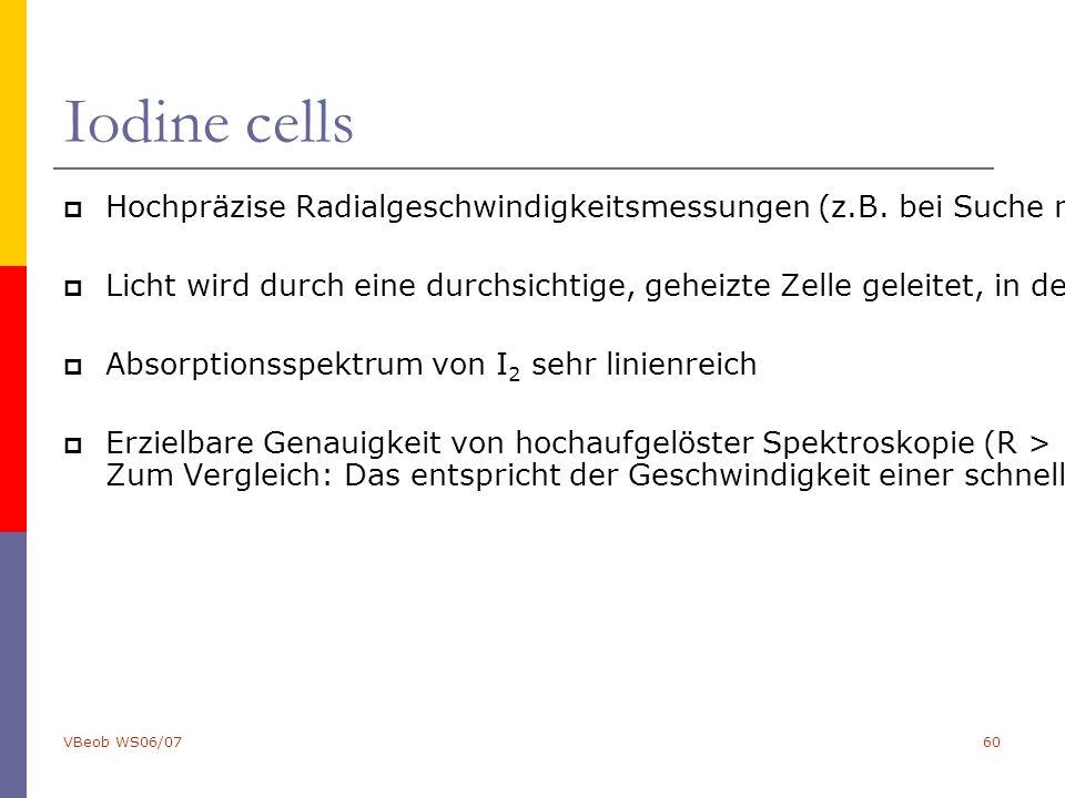 VBeob WS06/0760 Iodine cells  Hochpräzise Radialgeschwindigkeitsmessungen (z.B. bei Suche nach Exo-Planeten) erfordern gleichzeitige Beobachtung von