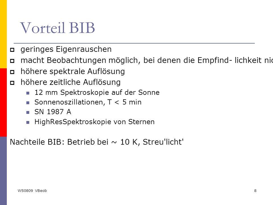 WS0809 VBeob8 Vorteil BIB  geringes Eigenrauschen  macht Beobachtungen möglich, bei denen die Empfind- lichkeit nicht mehr durch den Detektor limiti