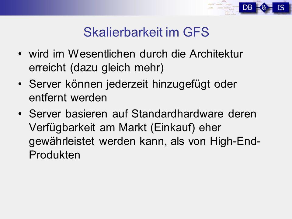 Skalierbarkeit im GFS wird im Wesentlichen durch die Architektur erreicht (dazu gleich mehr) Server können jederzeit hinzugefügt oder entfernt werden Server basieren auf Standardhardware deren Verfügbarkeit am Markt (Einkauf) eher gewährleistet werden kann, als von High-End- Produkten