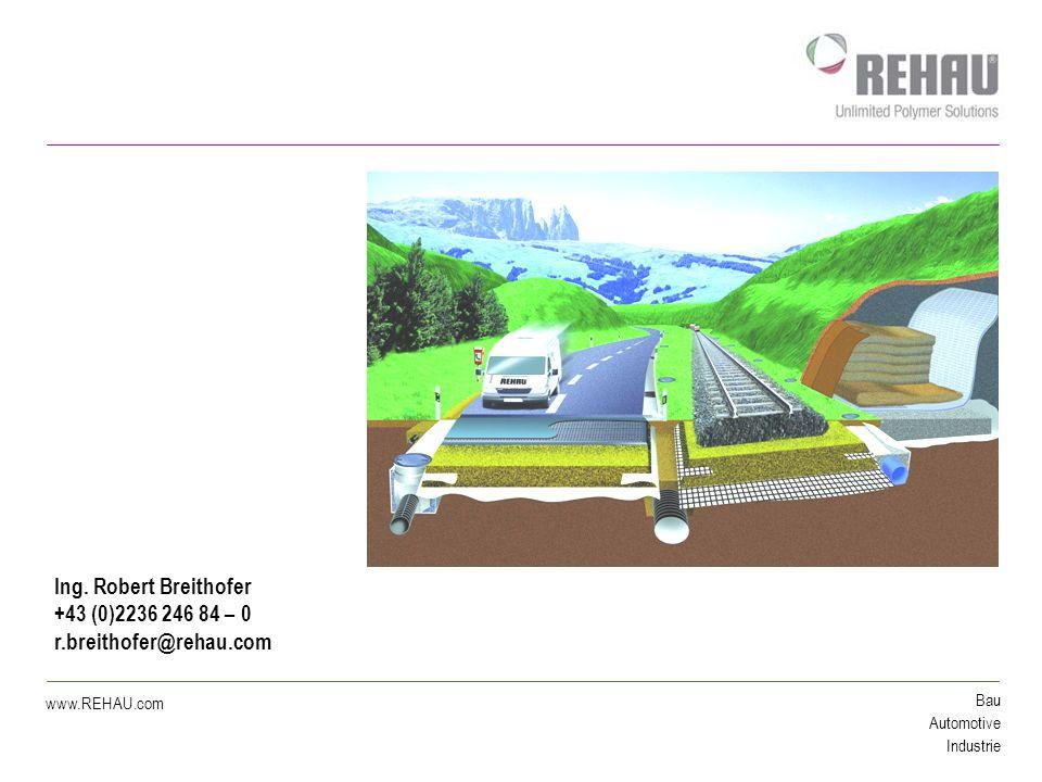 Bau Automotive Industrie www.REHAU.com Themenübersicht 1.Entwässerung von Verkehrsflächen 2.Schachtsysteme im Strassentiefbau 3.Geokunststoffe 4.Schnee- und Eisfreihaltung von Verkehrsflächen mittels Erdwärme
