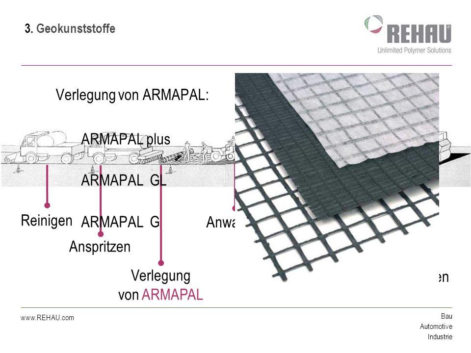 Bau Automotive Industrie www.REHAU.com Verlegung von ARMAPAL: Reinigen Anwalzen Verdichten Anspritzen Verlegung von ARMAPAL Asphalteinbau ARMAPAL plus ARMAPAL GL ARMAPAL G 3.