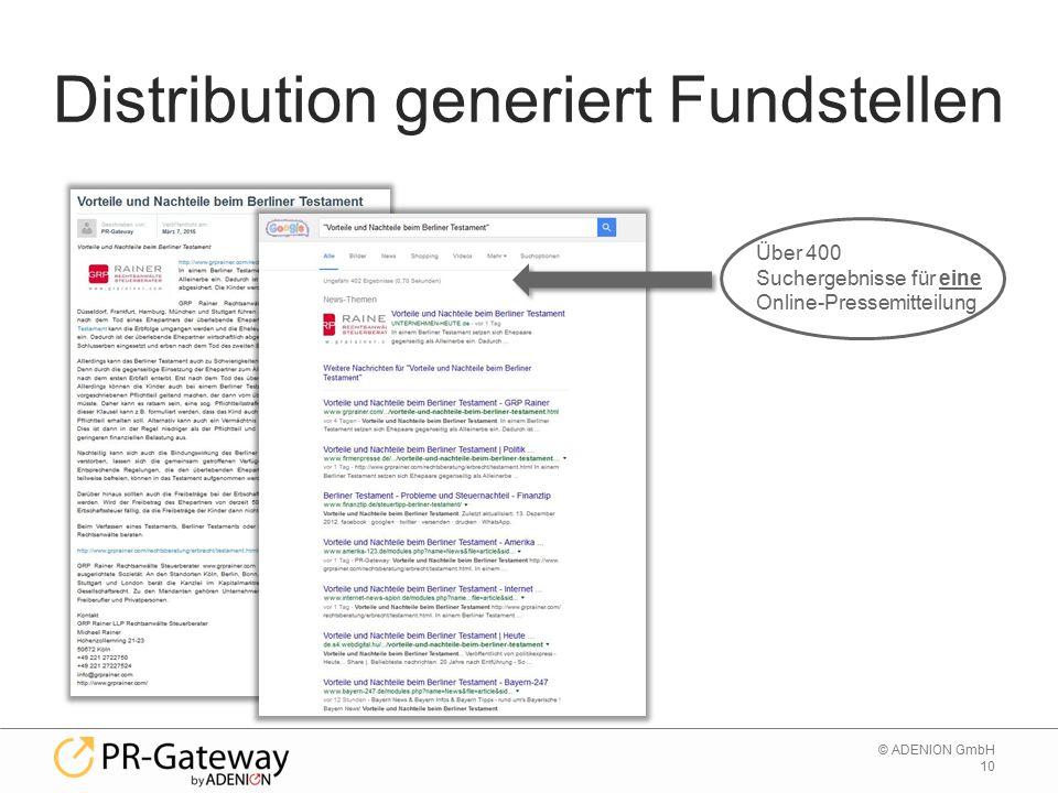 10 © ADENION GmbH Distribution generiert Fundstellen Über 400 Suchergebnisse für eine Online-Pressemitteilung