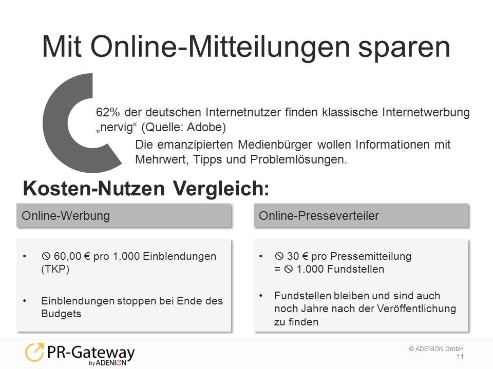 11 © ADENION GmbH Mit Online-Mitteilungen sparen  60,00 € pro 1.000 Einblendungen (TKP) Einblendungen stoppen bei Ende des Budgets 62% der deutschen