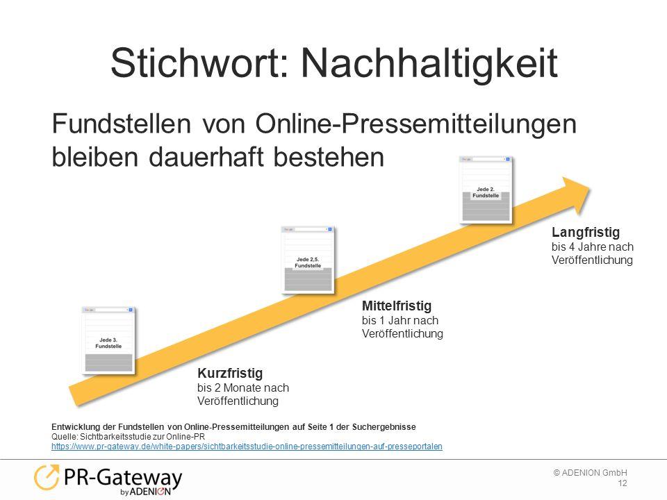 12 © ADENION GmbH Stichwort: Nachhaltigkeit Entwicklung der Fundstellen von Online-Pressemitteilungen auf Seite 1 der Suchergebnisse Quelle: Sichtbark