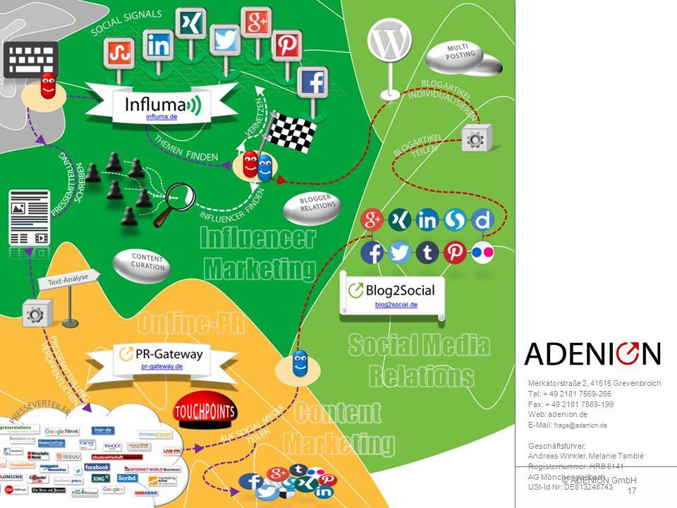 17 © ADENION GmbH Merkatorstraße 2, 41515 Grevenbroich Tel: + 49 2181 7569-266 Fax: + 49 2181 7569-199 Web: adenion.de E-Mail: frage@adenion.de Geschä