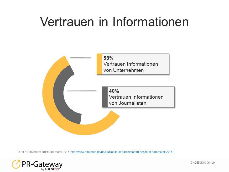 4 © ADENION GmbH Vertrauen in Informationen aus… Suchmaschinen Quelle: Edelmann Trust Barometer 2016: http://www.edelman.de/de/studien/trust-barometer/articles/trust-barometer-2016http://www.edelman.de/de/studien/trust-barometer/articles/trust-barometer-2016 traditionelle Medien Owned Media Online Only Media Social Media