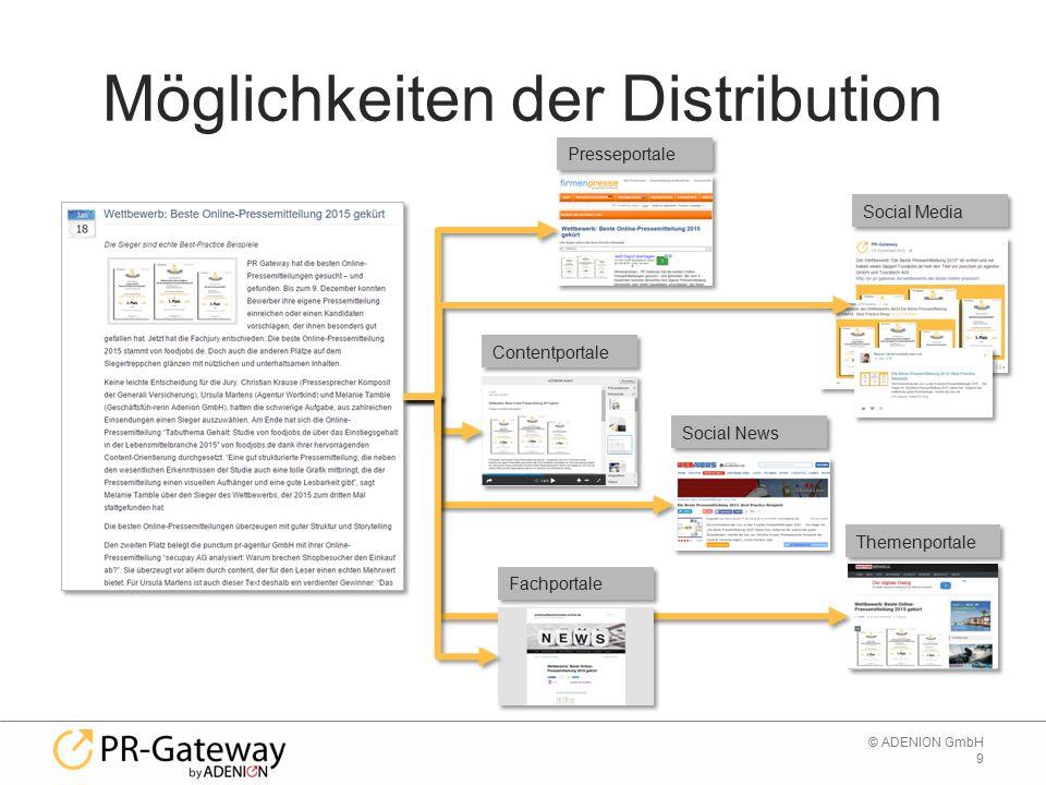 9 © ADENION GmbH Möglichkeiten der Distribution Presseportale Contentportale Social Media Social News Themenportale Fachportale