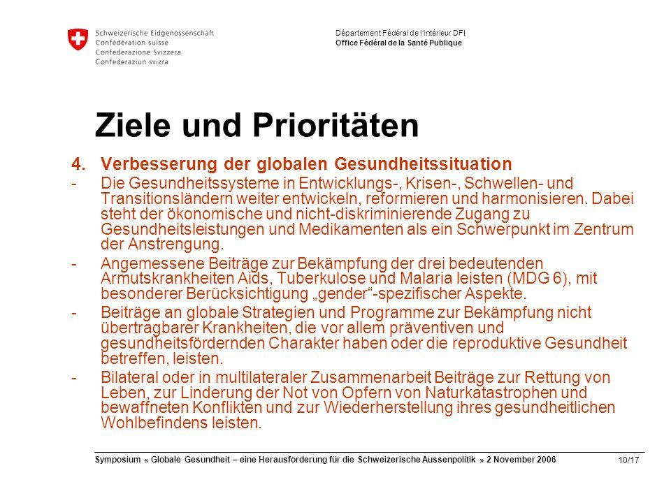 10/17 Symposium « Globale Gesundheit – eine Herausforderung für die Schweizerische Aussenpolitik » 2 November 2006 Département Fédéral de l'intérieur DFI Office Fédéral de la Santé Publique Ziele und Prioritäten 4.Verbesserung der globalen Gesundheitssituation -Die Gesundheitssysteme in Entwicklungs-, Krisen-, Schwellen- und Transitionsländern weiter entwickeln, reformieren und harmonisieren.