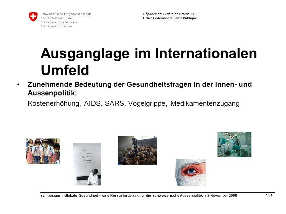 2/17 Symposium « Globale Gesundheit – eine Herausforderung für die Schweizerische Aussenpolitik » 2 November 2006 Département Fédéral de l'intérieur DFI Office Fédéral de la Santé Publique Ausganglage im Internationalen Umfeld Zunehmende Bedeutung der Gesundheitsfragen in der Innen- und Aussenpolitik: Kostenerhöhung, AIDS, SARS, Vogelgrippe, Medikamentenzugang