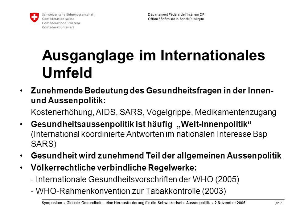 """3/17 Symposium « Globale Gesundheit – eine Herausforderung für die Schweizerische Aussenpolitik » 2 November 2006 Département Fédéral de l'intérieur DFI Office Fédéral de la Santé Publique Ausganglage im Internationales Umfeld Zunehmende Bedeutung des Gesundheitsfragen in der Innen- und Aussenpolitik: Kostenerhöhung, AIDS, SARS, Vogelgrippe, Medikamentenzugang Gesundheitsaussenpolitik ist häufig """"Welt-Innenpolitik (International koordinierte Antworten im nationalen Interesse Bsp SARS) Gesundheit wird zunehmend Teil der allgemeinen Aussenpolitik Völkerrechtliche verbindliche Regelwerke: - Internationale Gesundheitsvorschriften der WHO (2005) - WHO-Rahmenkonvention zur Tabakkontrolle (2003)"""